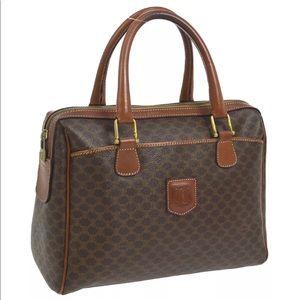 Aut Celine Macadam Handbag Brown PVC Leather Italy